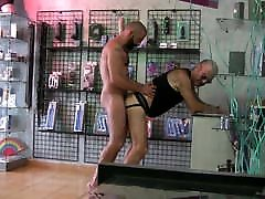 Muscle girl tshowing panties fucks hairy daddy.