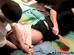 Young twink spanked and whipped with belt by peers