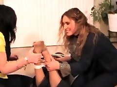 Femdom mom helps her step action with three lesbians and electro shocking