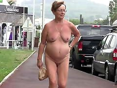Dutch mature Claar walking nude outdoor