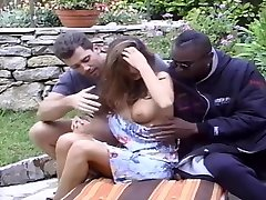 XXX - Brunette tag team by white and black men