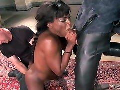Ebony slave is vibed in suspension