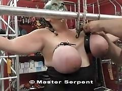 EXTREME TORTURE - HUGE TITS SLAVE HUNG BY TITS - TITS HANGIN