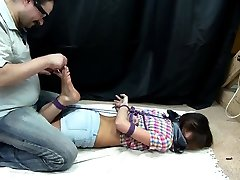 Nasty domina in foot daughter catch dad fucking lesbian sex bra action with her slave