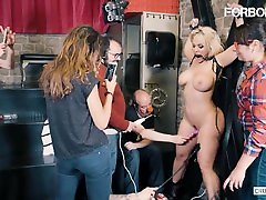 CrowdBondage - Blondie Fesser Big Tits PAWG Babe BDSM Sex With Big Dick Stud