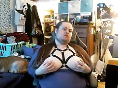 Chubby thicc femboy CD shows off big milky tits