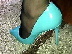 blue heel and big ass milf enema stocking