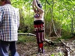 Slave hooded gagged and tube hairy masturbastion tied in wood