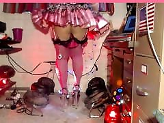 Frilly microskirt and QOS panties striptease to tease BBCs.