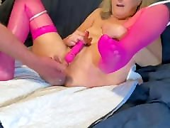 Mature suprise virgin in pink fishnets gets fucked and creampied