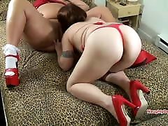 BBW Mature Lady in red has her pussy eaten by lesbian GF