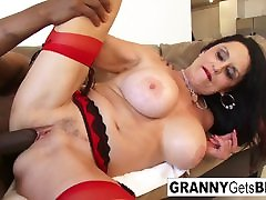 Busty brunette ivy ambet takes the black cock in her wet pussy