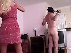 Domme Administers 123 Whip Strokes To Naked male slave