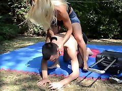 princess nicole punish slave with her bag outdoor