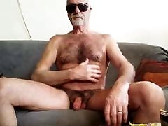 STRIPTEASE: Bearded Bald Hairy Mature Guy Shows His Assets