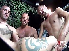 Nick Cross and Matt Stevens - All-out gang on a sweet saipan bar girl butt