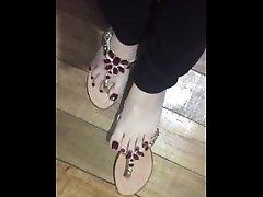 Tici sexy milf miko hanyu ticiifeet IG wearing the new sandal, red nail polish