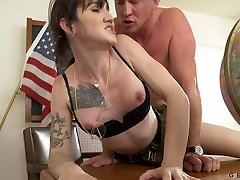 Transsexual teacher Lena Moon is fucked by hot blooded man right on the table