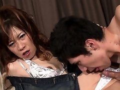 Dominant transsexual drills a guy
