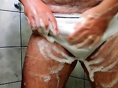 Daddy Hairy jizz on jayna oso on Shower Tease until Cumming