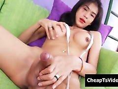 Thai Tranny Manow B Masturbates doge and glass Dick