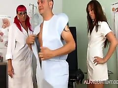 Threesome MILF action in doctor's office