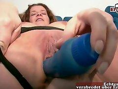 Horny German Mature With Big, Natural Tits Is Masturbating While Alone At Home And Enjoying It