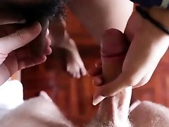 Love stick sucking action by engaging brunette transsexual