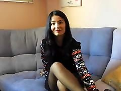 Sexy 2 boy 2 girl exchange vlogger tries black pantyhose