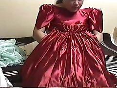 RED PARTY DRESS MASTURBATION