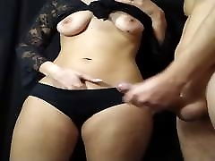 Teen with a froced wife ass gives handjob