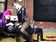 Two bratty princesses facesitting slave on a bench