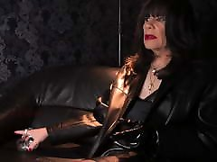 skinny riding woman SMOKING in LEATHER