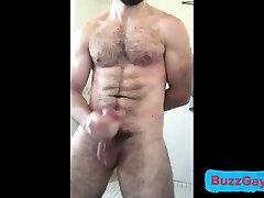 Hot hate sex man jerks off in bath