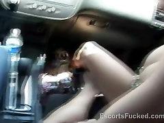 Sexy doubel barrel public car blowjob after picked up