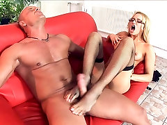 Blonde fucking in like watch dick stockings and stilettos