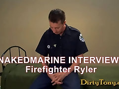 Firefighter Stroking Big Cock