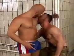 Dirty old bathroom sex - 2 real men!
