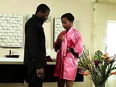 Ebony masseuse drenched