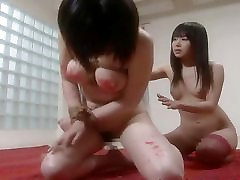 Asian slut has a bdsm session and is fully waxed out