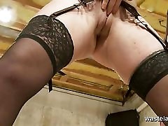 Blonde sex slave brought to www bf sax video by hot lesbian paly tits Mistress