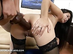Sexy Asian has ass stetched by friend with huge strapon