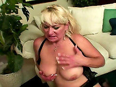 Blonde mature white woman in hotel room service porn style loves to deep throat black dick
