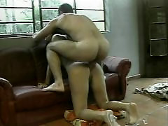 Busty tranny gives a great blow job on her knees