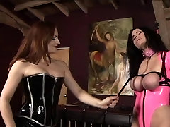 Lesbian xxn dan clecc girls in pink and black latex whip, spank, and torture young slave