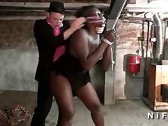 Chubby french antimal trainer slut attached and sodomized