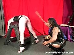 Ebony Mistress Mina caning white slave