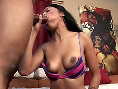 Ebony with natural tits gets banged and creamed on the sofa
