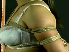 Amateur Asian seachjuliett webcam tied up and hung on a tube