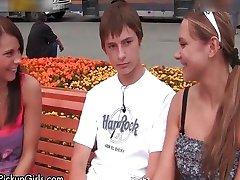 Cute teen babes get horny talking
